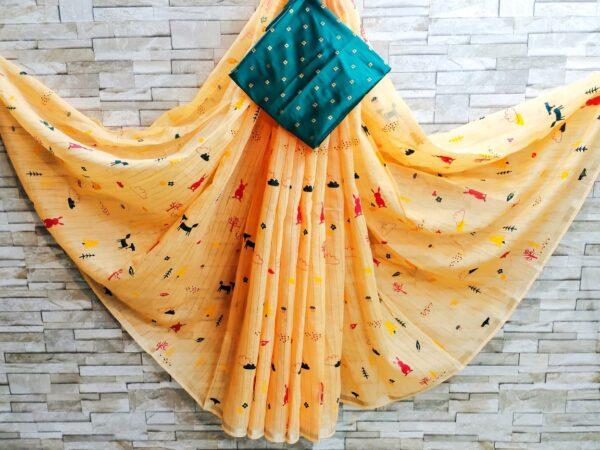 Phenomenal Mustard Colored Linen Cotton Zari Golden Border Print Saree