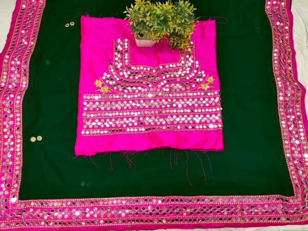 Fab Green & Rani Georgette With Mirror Work Designer Saree