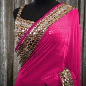 Splendid Rani Colored Georgette With Real Mirror Border Work Saree