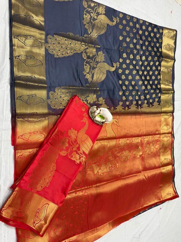 Radiant Navy Blue & Red Rich Pallu Nylon Silk With Weaving Jaquard designer fancy saree online