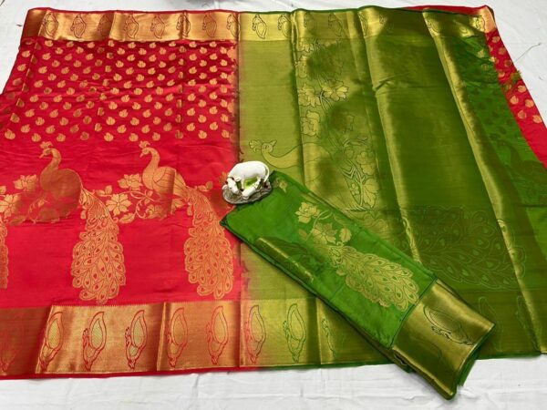 Striking Red & Green Nylon Silk With Rich Pallu Weaving Jaquard designer fancy saree online
