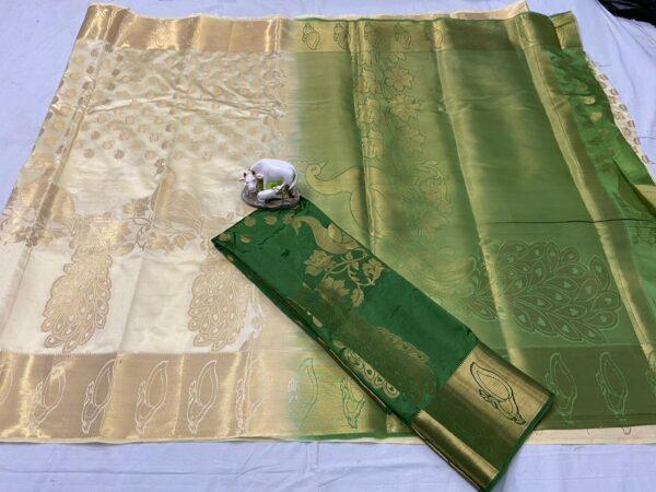 Dazzling Cream & Green Nylon Silk With Weaving Jaquard Rich Pallu designer fancy saree online