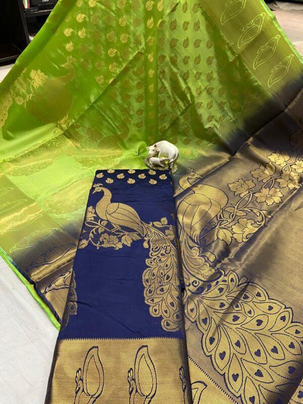 Wonderful Green & Royal Blue Nylon Silk Rich Pallu Weaving Jaquard designer fancy saree online
