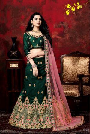 Gorgeous Rama Colored Velvet Silk With Zari Diamond Work Lehenga Choli Design Online