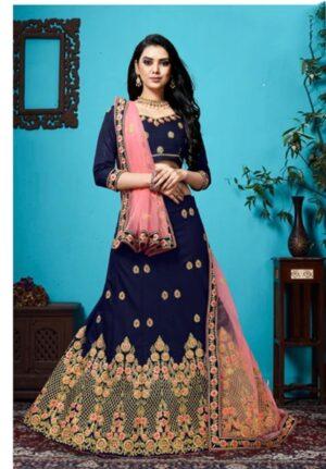 Amazeballs Navy Blue Velvet Silk With Zari Diamond Work Lehenga Choli Design Online