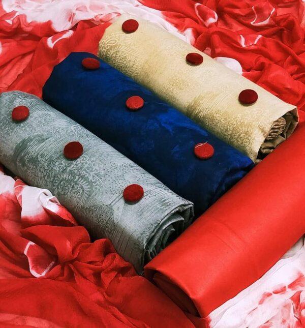 Smashing Three Top Set Cotton Cambric Printed Salwar Suit