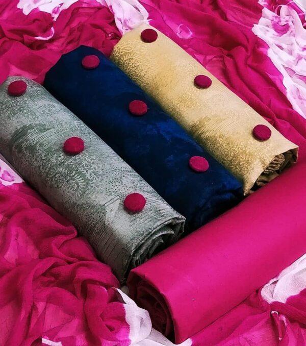 Extraordinary Rani & Multi Colored Three Cotton Top Set Salwar Suit