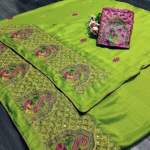 Fabulous Parrot Green Mos Chiffon With Embroidered Work designer fancy saree online