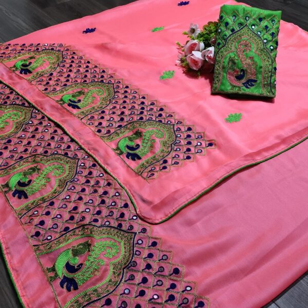 Comely Pink Colored Chiffon With Embroidered Work designer fancy saree online