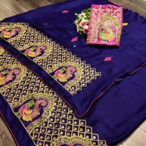 Sensational Purple Mos Pure Chiffon With Embroidered Work designer fancy saree online
