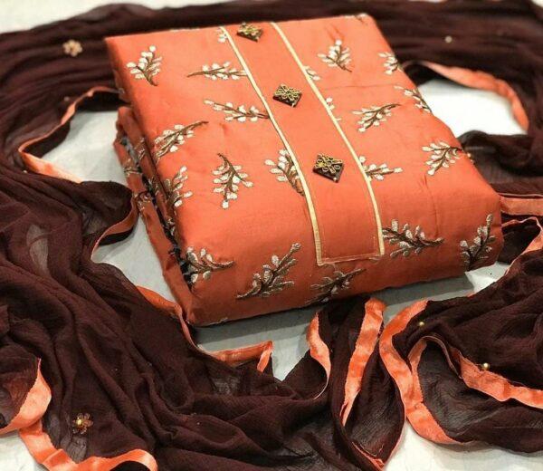 Devastating Orange Chanderi With Multi Work Salwar Suit