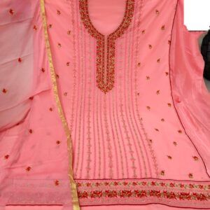 Gorgeous Peach Colored Georgette Embroidered Sequence Work Salwar Suit