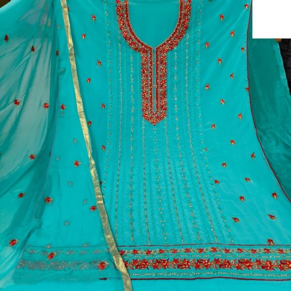Knockout Sea Green Colored Georgette With Embroidered Sequence Salwar Suit
