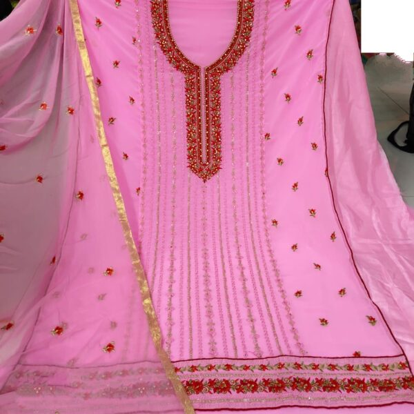Smashing Pink Georgette With Embroidered Work Salwar Suit