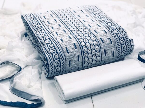 Beauteous Blue & White Cotton With Kashmiri Embroidered Work Salwar Suit
