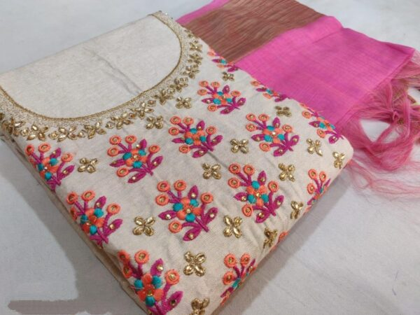 Amazing Pink & Cream Chanderi WIth Embroidered Work Salwar Suit
