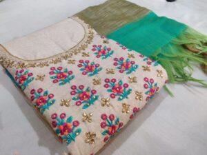 Astonishing Rama & Cream Embroidered Work Chanderi Salwar Suit