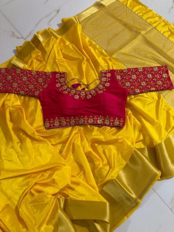 Phenomenal Yellow & Rani Nylon Silk Saree With Ready Made Blouse