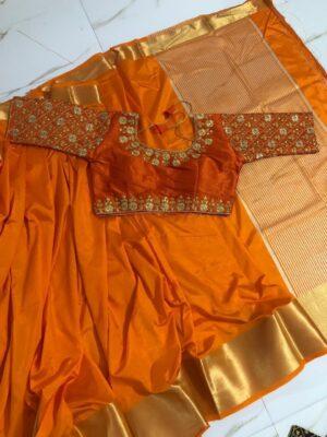 Splendid Orange Nylon Silk Saree & Ready Made Blouse
