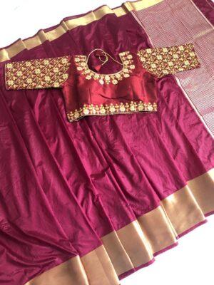 Imposing Maroon Nylon Silk Saree & Ready Made Blouse