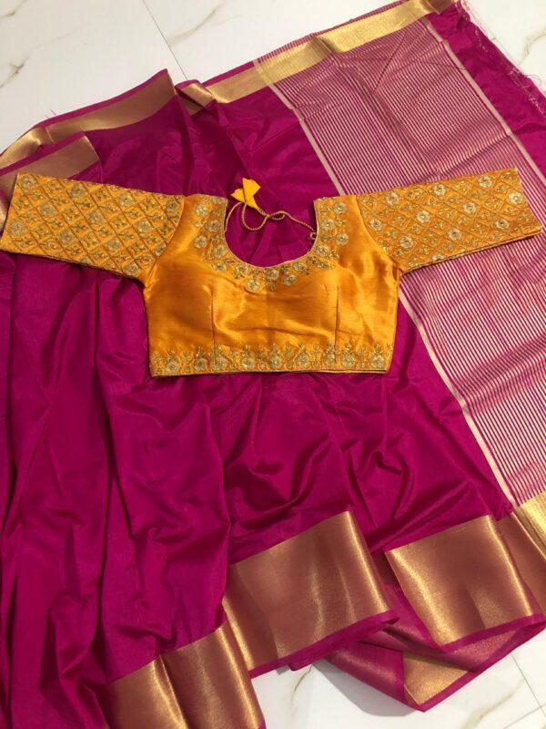 Breathtaking Rani & Yellow Nylon Silk Saree & Malbari Ready Made Blouse