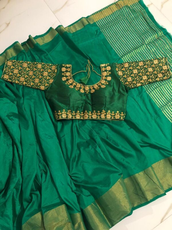Mind-Boggling Rama Colored Malbari Ready Made Blouse And Nylon Silk Saree