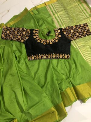 Wondrous Green & Black Nylon Silk Saree & Ready Made Malbari Silk Blouse