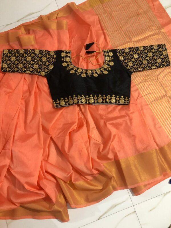 Beautiful Peach & Black Nylon Silk Saree & Ready Made Malbari Silk Blouse