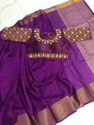 Attractive Purple Nylon Silk Saree & Malbari Silk Ready Made Blouse