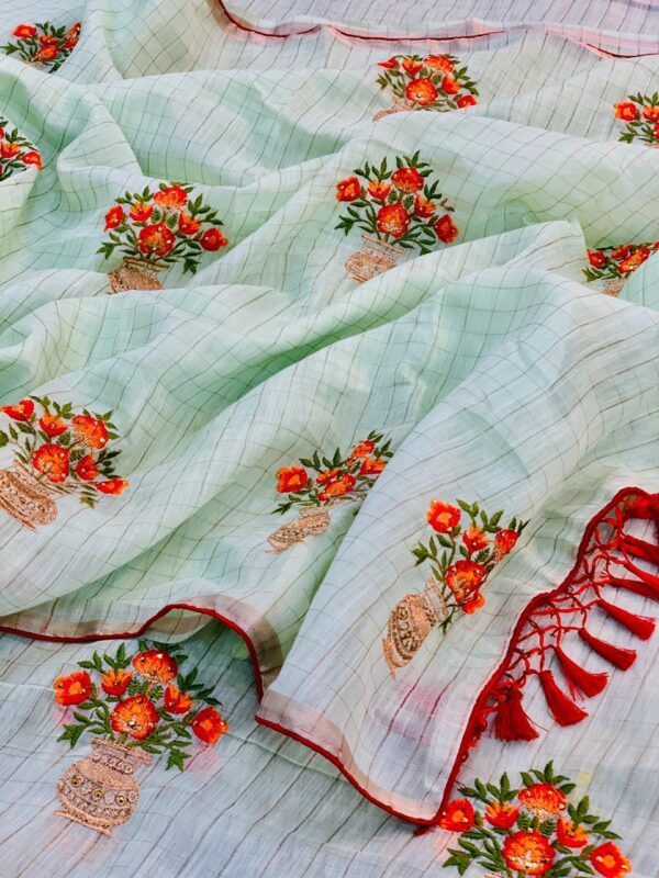 Pretty Pista Colored Embroidered Diamond Work Linen Chex designer fancy saree online