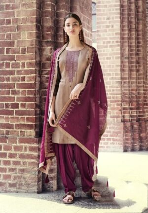Captivating Maroon Rayon With Embroidered Work Punjabi suit design