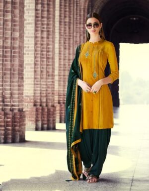 Bewitching Mustard Colored Rayon With Embroidered Work Punjabi suit design
