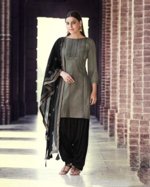 Charming Grey & Black Rayon With Embroidered Work Punjabi suit design
