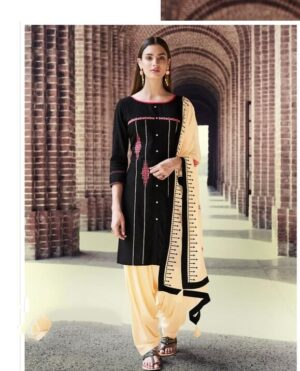 Alluring Black & Cream Rayon With Embroidered Work Punjabi suit design