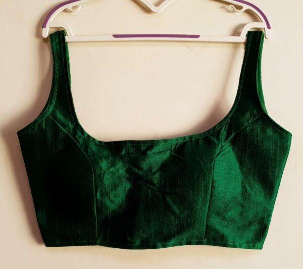 Beauteous Dark Green Phantom Silk Ready Made Blouse