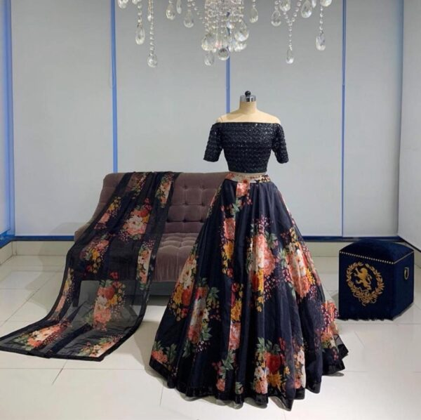 Outstanding Navy Blue Designer Georgette Sequence Work Lehenga Choli Design Online