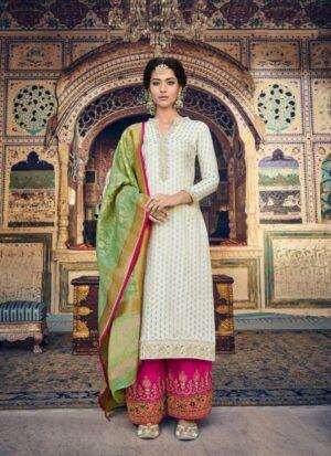 Astonishing Off White Designer Banarasi Embroidered Stone Work Salwar Suit