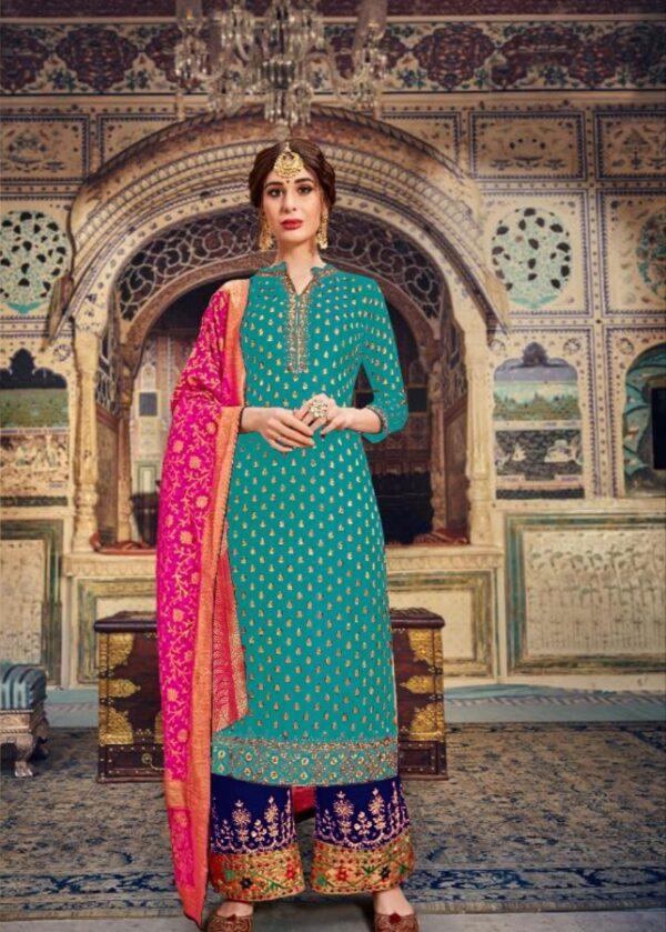 Phenomenal Light Rama Designer Banarasi Embroidered Stone Work Salwar Suit