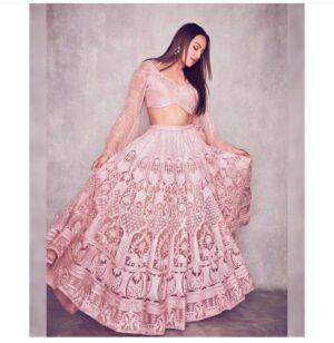 Mind-Blowing Light Pink Net With Diamond Embroidered Work Lehenga Choli Design Online