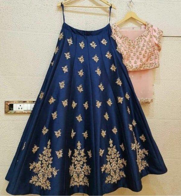 Super Blue & Peach Designer Silk With Embroidered Work Lehenga Choli Design Online