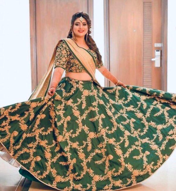 Lovely Dark Green Tapetta Silk With Embroidered Work Lehenga Choli Design Online