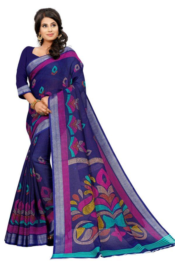 Glorious Purple Colored Linen Printed designer fancy saree online