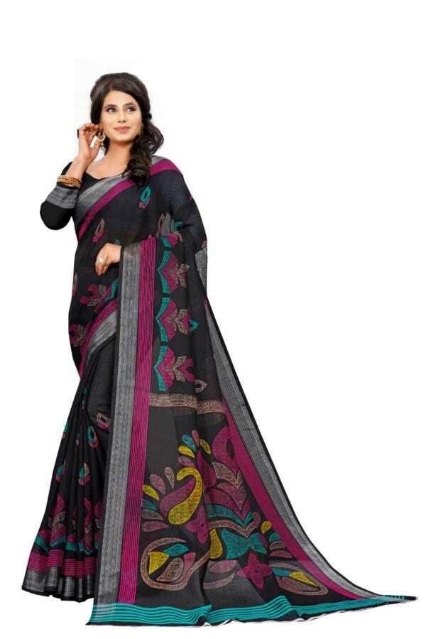 Captivating Black Colored Linen Printed designer fancy saree online