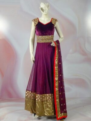 Bewitching Purple Velvet With Chain Stitch Work Long Frock Gown Dress