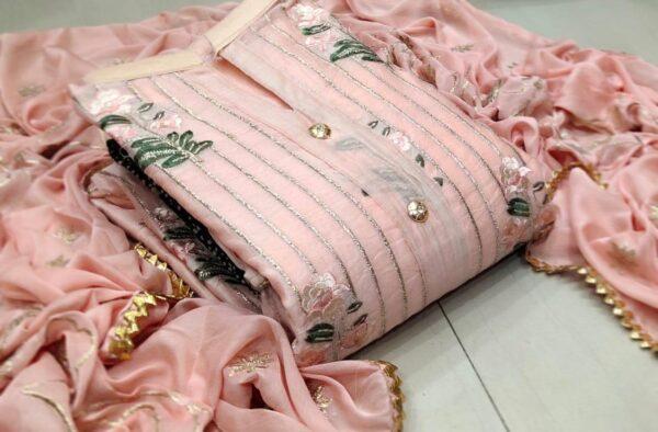 Gorgeous Peach Colored Modal Multi Work Salwar Suit