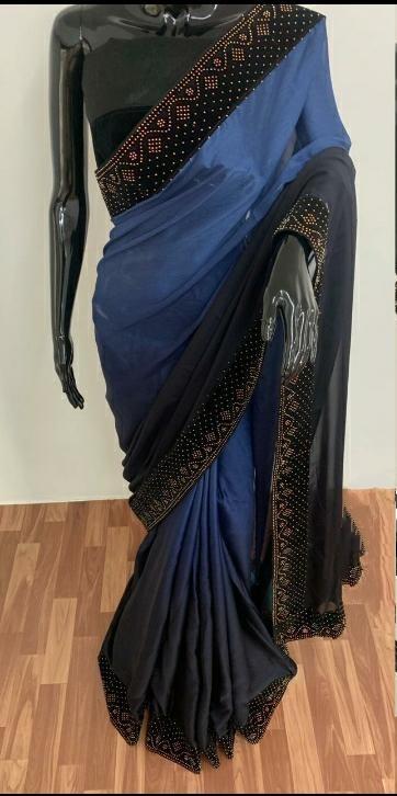 Beauteous Blue Satin Silk With Machins Stone Diamond Work designer fancy saree online