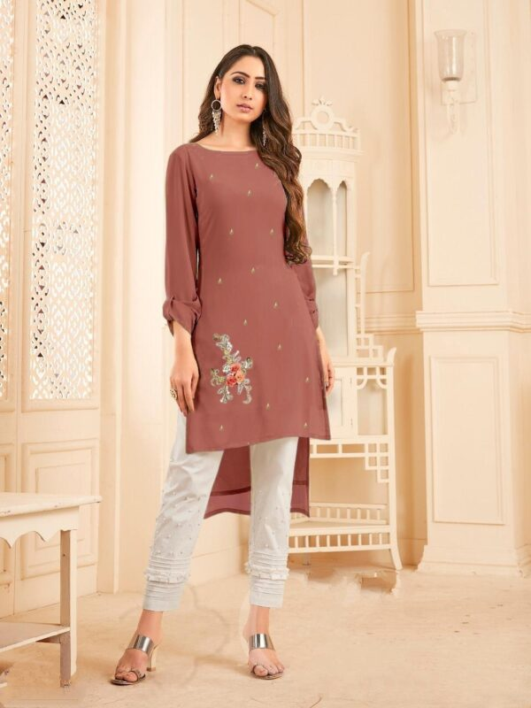 Lovely Brown Colored Georgette With Diamond Work Kurta & Pant