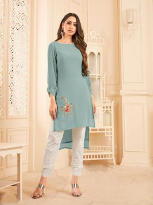 Good-Looking English Colored Georgette With Diamond Work Latest Kurti & Pant