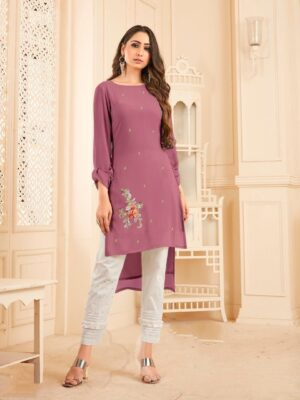 Comely Georgette With Diamond Work Latest Kurti & Pant