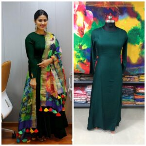 Captivating Dark Green Rayon Long Frock Gown Dress